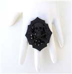 FLAT BLACK SKULL & BONES MINI RING