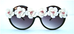 BOBBY JAMES WHITE ROSE PEEKABOO GLASSES