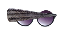 BIRDS OF PREY GUN METAL GRAND FEATHER PEEKABOO GLASSES