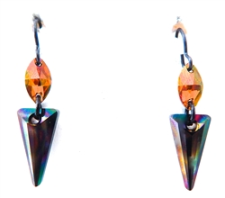 RARE FIND BLACK RAINBOW PYRAMID EARRINGS