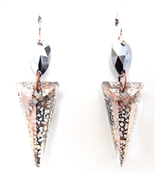 RARE FIND CHROME PINK FOX PYRAMID EARRINGS