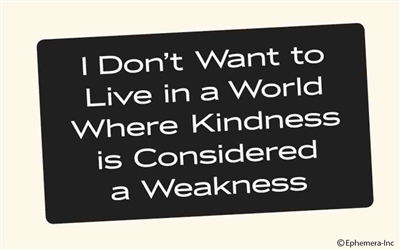 I don't want to live in a world where kindness is considered a weakness