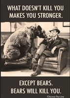 WHAT DOESN'T KILL YOU MAKES YOU STRONGER.  EXCEPT BEARS.  BEARS WILL KILL YOU.