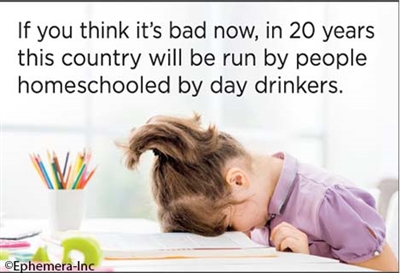 If you think it's bad now, in 20 years this country will be run by people homeschooled by day drinkers.