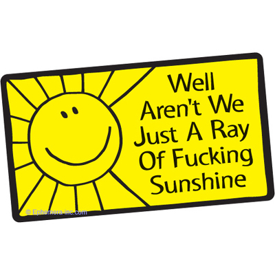 Well, aren't we just a ray of fucking sunshine?