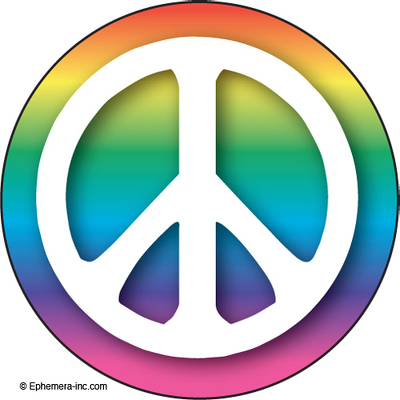 (peace sign with rainbow)