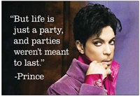 """But life is just a party, and parties weren't meant to last."" - Prince"
