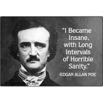 """I became insane, with long intervals of horrible sanity."" - Edgar Allen Poe"