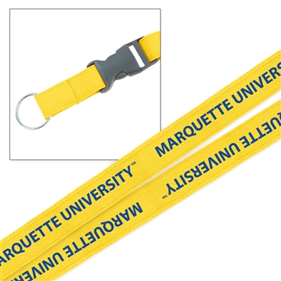 Marquette University Platinum Woven Lanyard Gold
