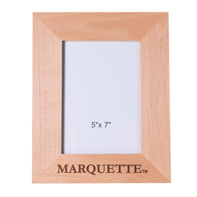 Marquette University Engraved Wood 5x7 Frame - Vertical