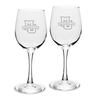 Marquette University 12oz Etched Wine Glass Set of 2