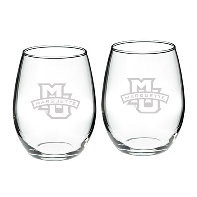 Marquette University Etched Stemless Wine Glass Set of 2