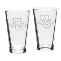 Marquette University Etched Pint Glass Set of 2