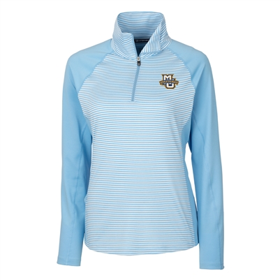 Marquette University Ladies' Forge Blue Tonal Stripe Half Zip