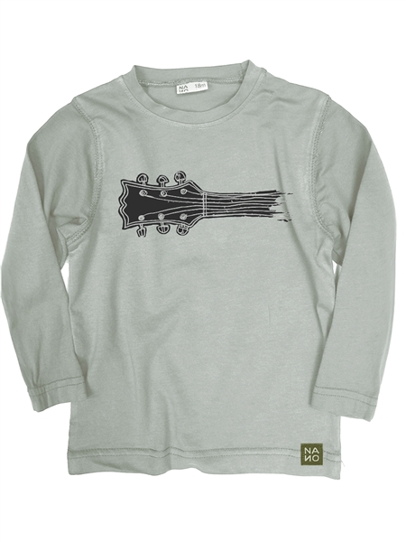 Relaxed Fit Long Sleeve Guitar T-shirt, Lite Grey