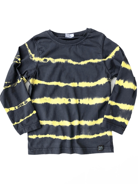 Stripe Dye Relaxed Long Sleeve Tee,  Yellow/Grey