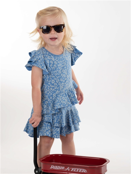 Tier Ruffle Cheetah Dress, Blue