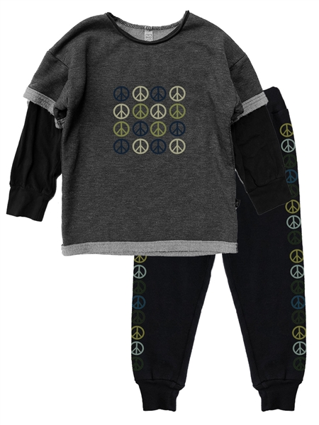 Peace Cozy Sweatshirt & Jogger Grey Heather SET
