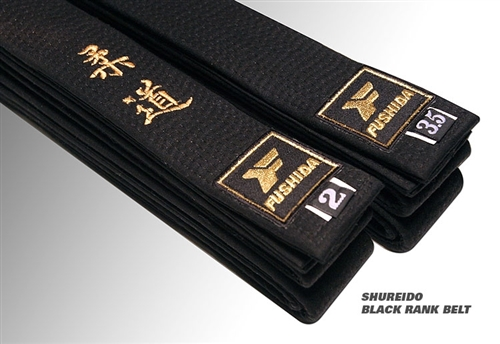 Fushida SHUREIDO Black Rank Judo Belt