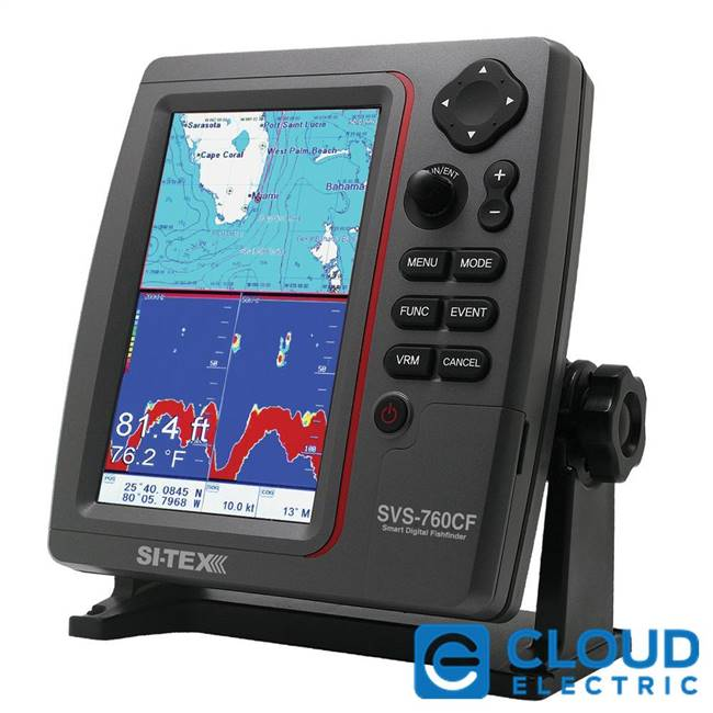 SI-TEX SVS-760CF Dual Frequency Chartplotter/Sounder w/ Navionics+ Flexible Coverage
