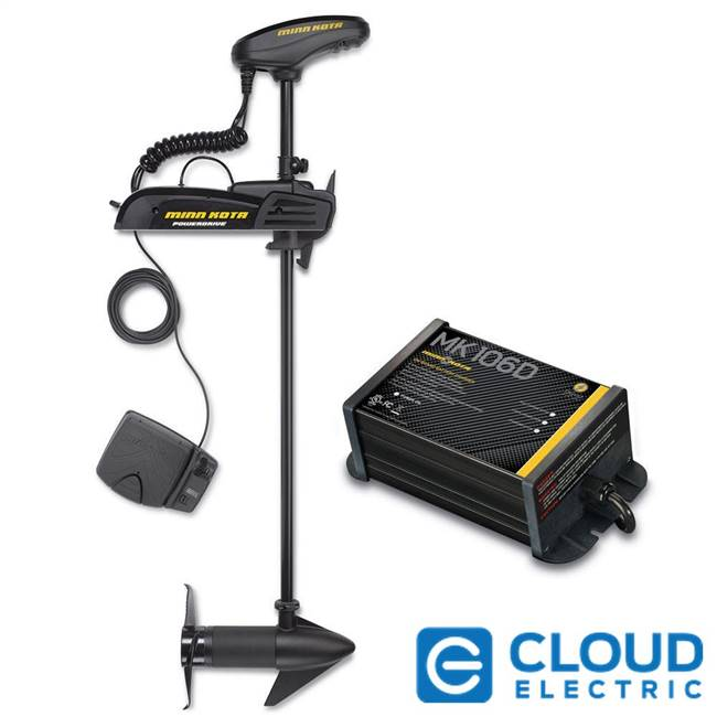 "Minn Kota Powerdrive 55_BT Freshwater, Bow-Mount, Foot Pedal, Electronic Steering, Bluetooth - 12v-55lb-54"" w/ Free MK-106D Charger"