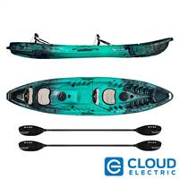 Vibe Kayaks Skipjack 120T | 12 Foot | Tandem Angler and Recreational Two Person Sit On Top Fishing Kayak (Caribbean Blue)