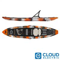 Vibe Kayaks Maverick 120 | 12 Foot | Hybrid Angler Sit On Top or Stand No-Flex Deck Fishing Kayak (Orange Camo - Hero Seat)