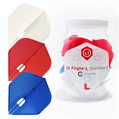 L-style Red/Blue/White Standard Champagne Flight (15pc)