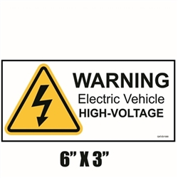 Warning High Voltage Decal - Electrical Vehicle Repair