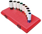 "Sunex 2849 9 Pc. 1/2"" Drive 6 Point Extra Thin Wall SAE and Metric Wheel Protector Impact Socket Set"