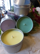 Seamless Tin filled with colored wax to make a candle.