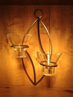 "Danish Iron - Modern Oval - 2 ""Leif"" Glass Candle Cups -- Candle Not Included"