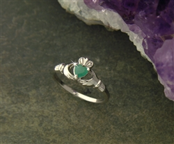 Dainty EMERALD Sterling Silver Claddagh Ring BQ1015