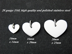 (00)316L Stainless Steel Heart Disc 6 pack 20mmx25mm