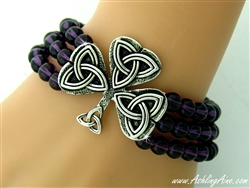 """The Flow of Life' Bead & Celtic Knot Shamrock Stretch Bracelet (#JPEW6505)"