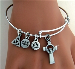 Stately Claddagh Cross Charm Bangle(Rpew30)