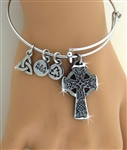Bold Reversible Celtic High Cross Charm Bangle (RPEW21)