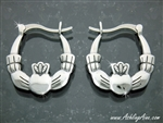 Classical Large Double Sided Claddagh Hoop Earrings (130)