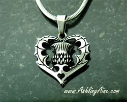 "Bold Scottish Thistle Pendant I love Scotland with 18"", 20"", 24"" or 30"" chain"