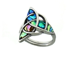 316L Stainless Steel Abalone Trinity Ring (S233)