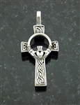316L Stainless Steel Bold Celtic Claddagh High Cross Pendant (S73B)