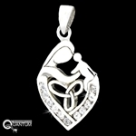 Stainless Steel Celtic Mother & Child CZ Pendant(#S83)