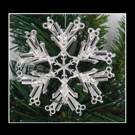 Alternative Views: - Pewter Hairdresser SnowWonders® Snowflake Ornament/ Pendant
