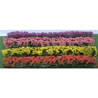 "0595509 BLOSSOM HEDGES 5"" x 3/8"" x 5/8"", HO-SCALE, RED, PINK, YELLOW, PURPLE,  8/PK"