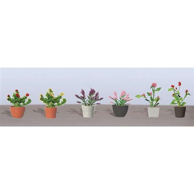 0595566 FLOWER PLANTS POTTED ASSORTMENT 1, O-scale, 6/pk