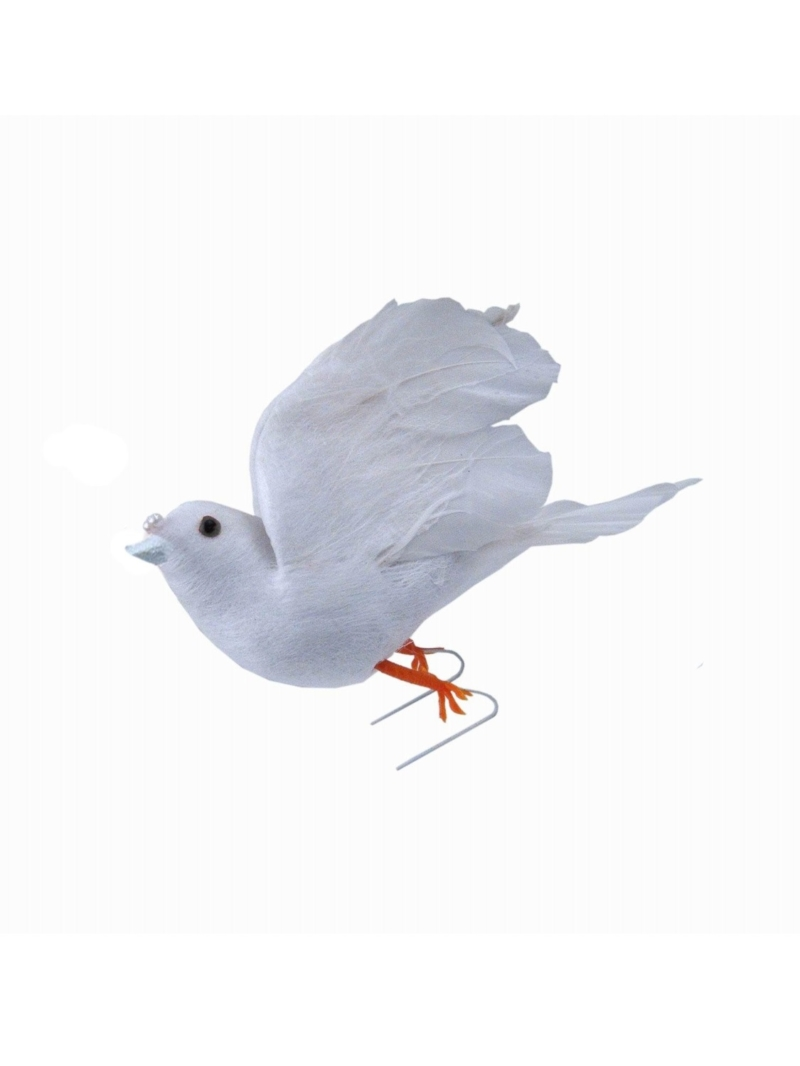 "4"" FEATHER DOVE - WHITE"