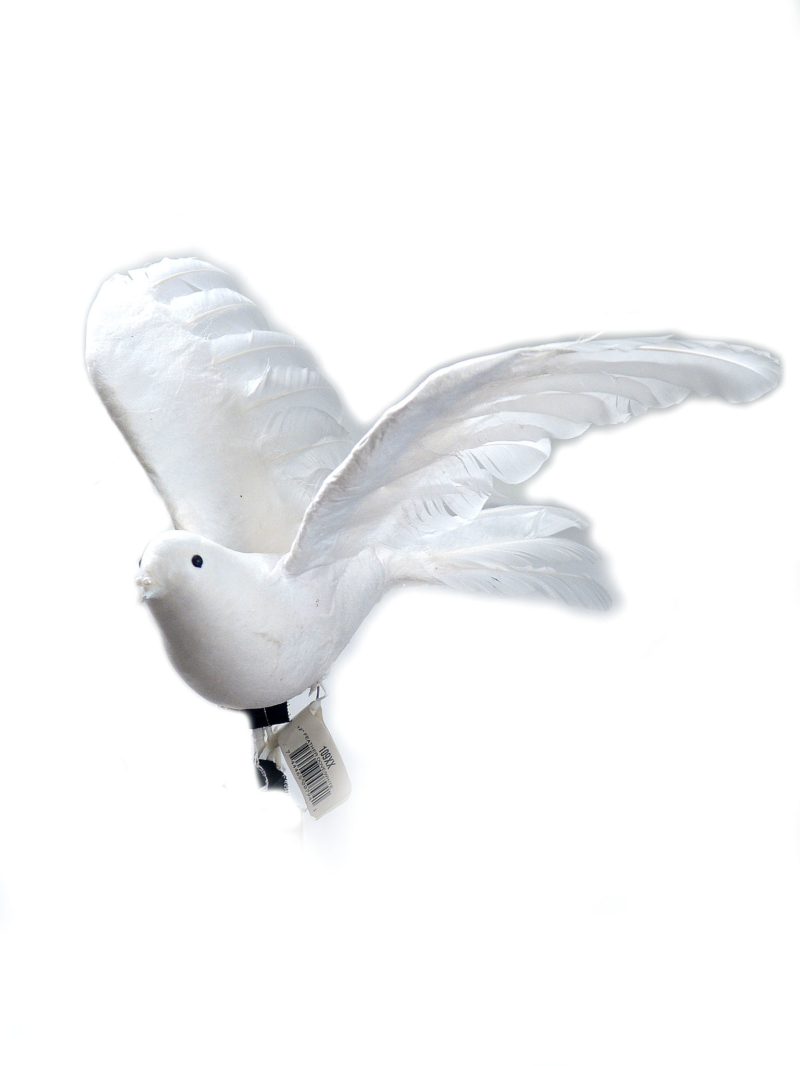 "12"" FEATHER DOVE - WHITE"