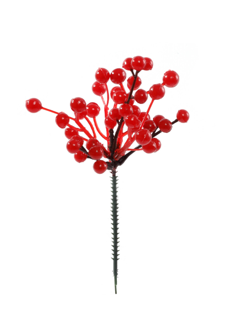 "8""PLASTIC BERRY PICK W/41 41 BERRIES - RED"