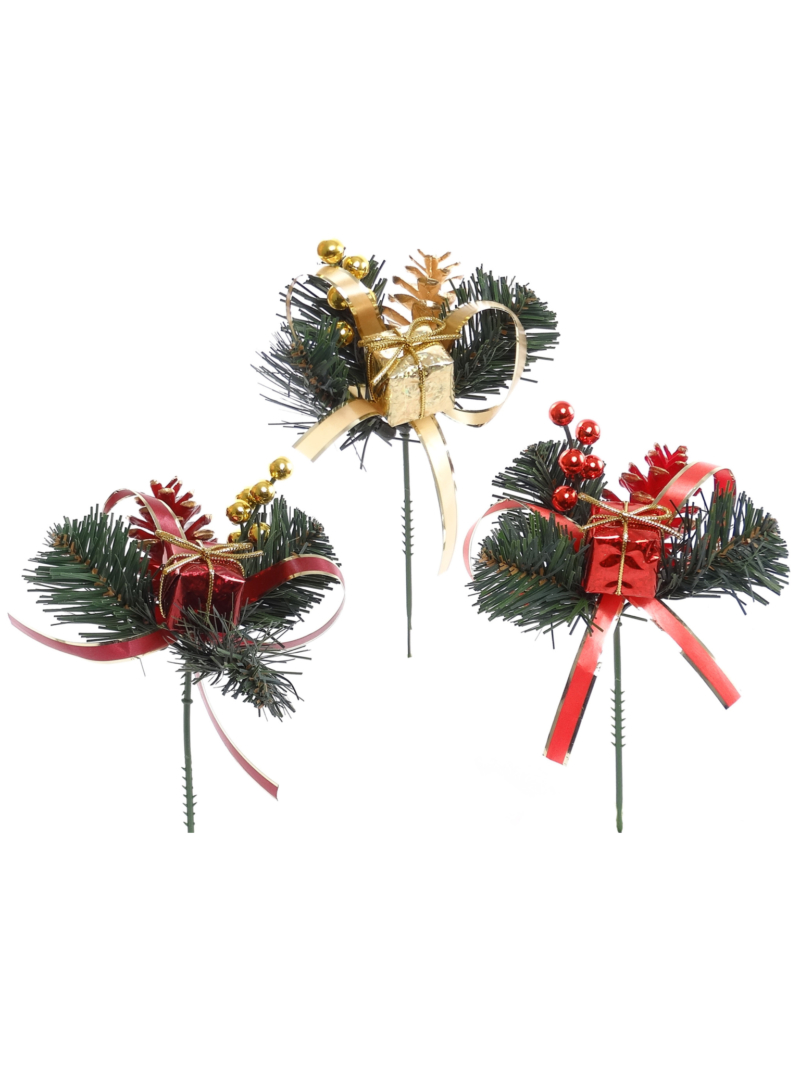 PINE PICK W/ BOW/CONE/ BERRY/BOX - ASSORTED