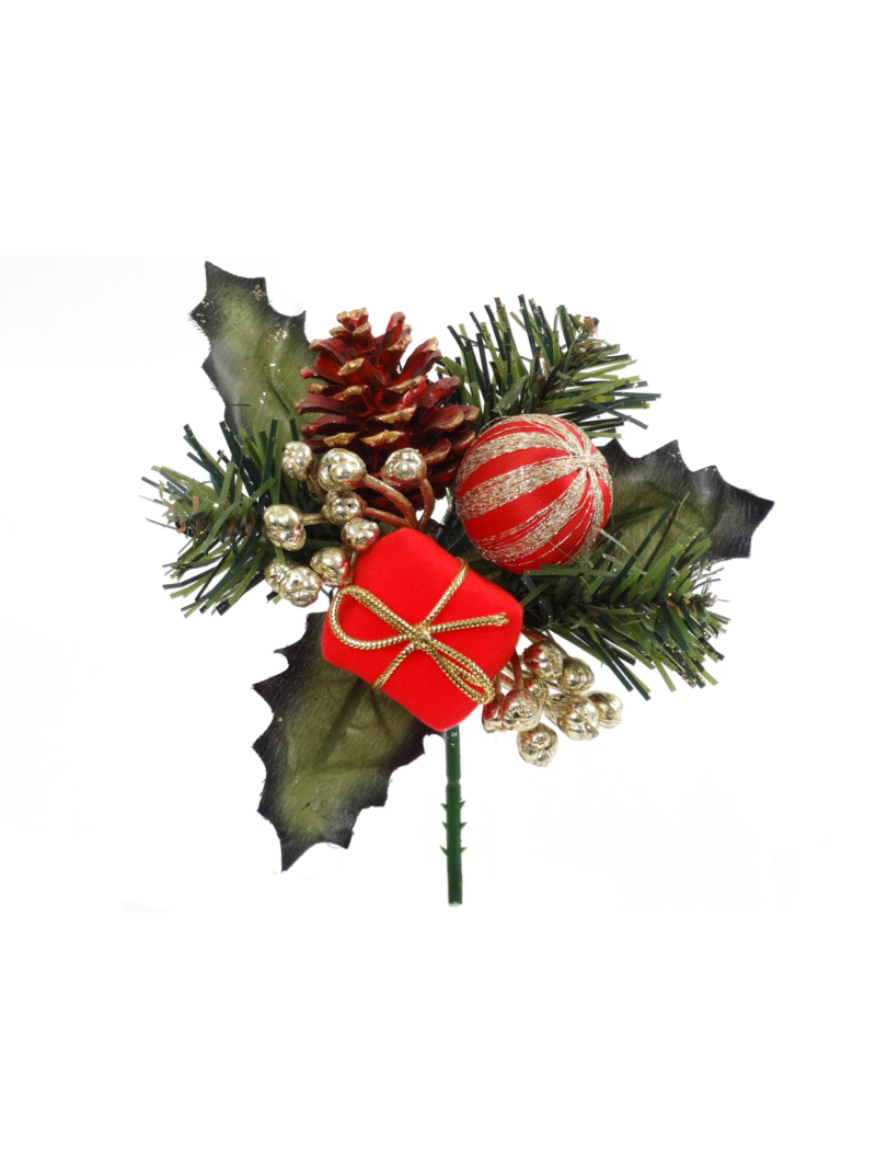 WREATH PICK W/ VELVET BALL/BOX/PINE